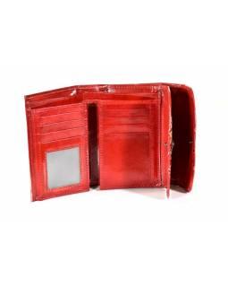 """Velká peněženka design """"Elephant"""", ručně malovaná kůže, červená,15x11cm"""