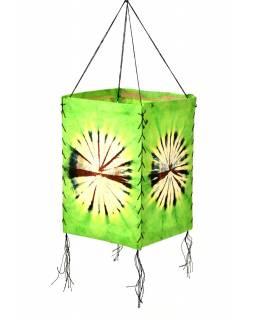 Stínidlo, zelené, čtyřboké, batika kruh, barvený rýžový papír, 18x26cm