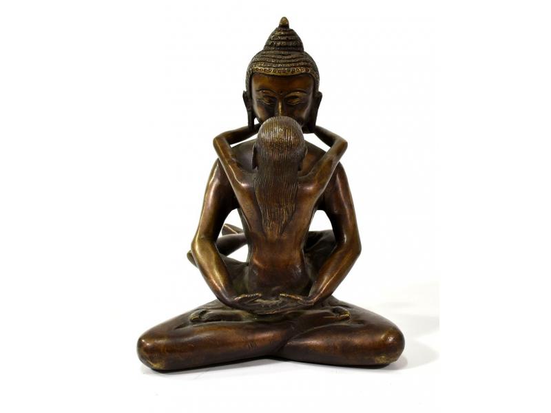 Kovová soška Buddhy ve spojení s partnerkou, mosaz, 18cm