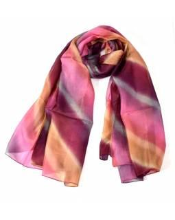 Hedvábný šátek široké pruhy, fialovo béžový, 170x100cm