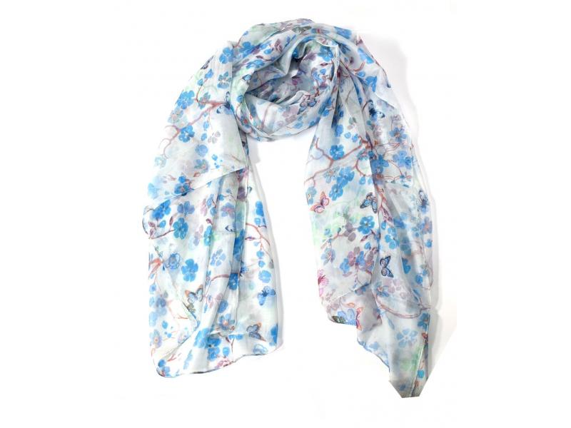 Hedvábný šátek potisk květin a motýlů , bílý, 170x100cm