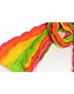 Šátek, zeleno-oranžovo-růžovo-žlutá batika, mačkaná úprava, 110x170cm