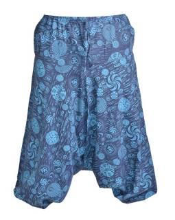 Unisex modré turecké kalhoty s potiskem, kapsy