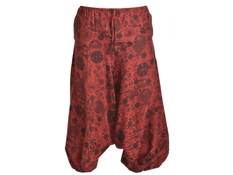 Unisex vínové turecké kalhoty s potiskem, kapsy