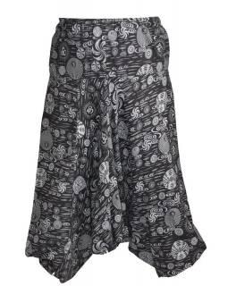 Unisex černé turecké kalhoty s potiskem, kapsy