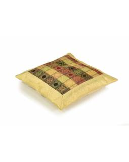 Povlak na polštář, béžový s square designem, zlatá výšivka, 40x40cm