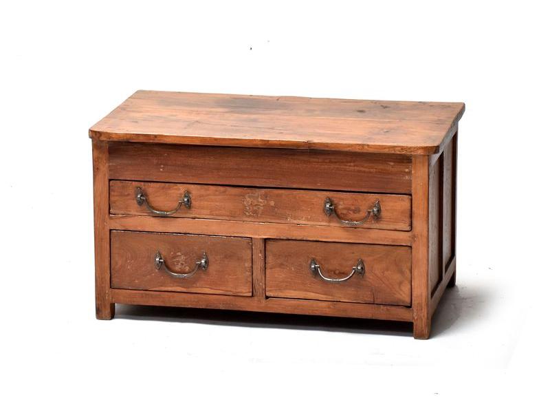 Starý kupecký stolek z teakového dřeva, 71x42x40cm