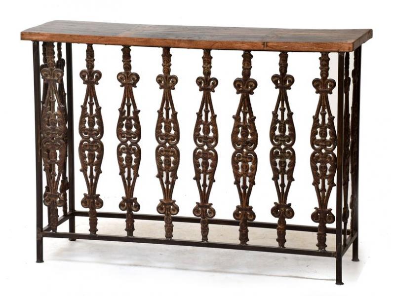 Konzolový stolek z litiny a teakového dřeva, 125x37x89cm