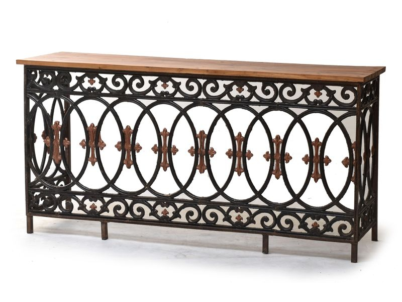 Konzolový stolek z litiny a teakového dřeva, 175x45x83cm