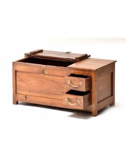 Starý kupecký stolek z teakového dřeva, 75x37x36cm