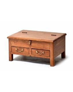 Starý kupecký stolek z teakového dřeva, 63x45x32cm