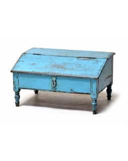Starý kupecký stolek z teakového dřeva, tyrkysová patina, 66x47x37cm