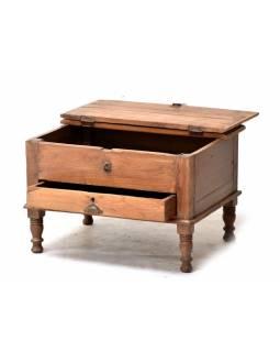 Starý kupecký stolek z teakového dřeva, 60x47x40cm