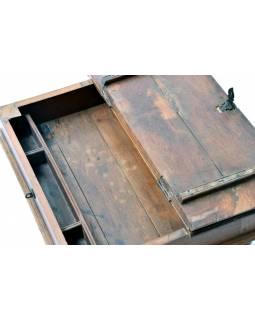 Starý kupecký stolek z teakového dřeva, 62x47x26cm