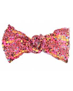 Šátek, potisk geometrické tvary, růžový, mačkaná úprava, 110 x 170cm