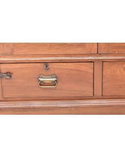 Šatní skříň z teakového dřeva zdobená kresbou bohyně Lakšmí, 105x58x206cm
