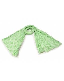 Bílý šátek s květinovým potiskem, mačkaná úprava, zelený potisk, 110x170cm