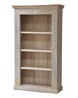 Knihovna z teakového a mangového dřeva ručně vyřezávaná, 110x43x187cm