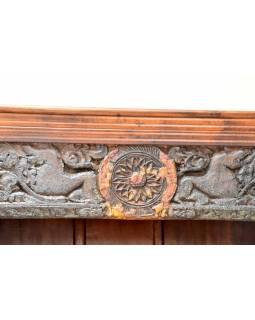Knihovna z teakového a mangového dřeva ručně vyřezávaná, 114x44x182cm