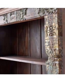 Knihovna z teakového a mangového dřeva ručně vyřezávaná, 130x46x213cm