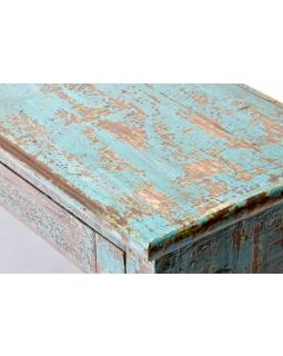 Prosklená skříňka z teakového dřeva, tyrkysová patina, 61x30x88cm