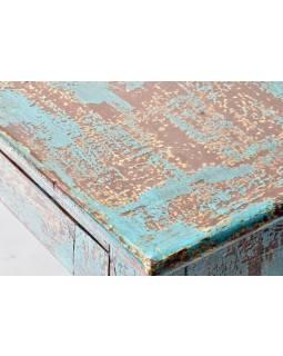 Prosklená skříňka z teakového dřeva, tyrkysová patina, 54x28x87cm