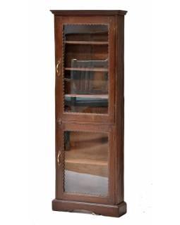 Prosklená skříňka z teakového dřeva, 50x15x138cm