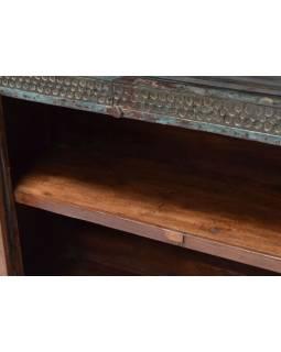 Komoda z teakového dřeva s železným kováním, 137x47x105cm