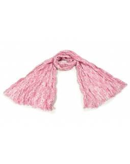 Bílý šátek s květinovým potiskem, mačkaná úprava, růžový potisk, 110x170cm