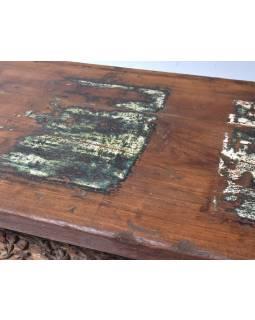 Komoda z teakového dřeva ručně vyřezávaná, 181x42x100cm