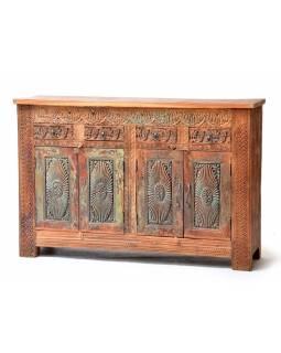 Komoda z teakového dřeva ručně vyřezávaná, 151x42x100cm