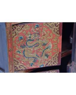 Ručně malovaná dřevěná antik komoda z Tibetu, 122x37x114cm