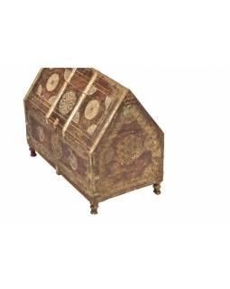 Antik dřevěná truhlička z Rádžasthánu v Indii, 67x37x54cm