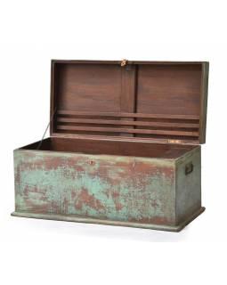 Stará truhlička z teakového dřeva, tyrkysová patina, 103x50x50cm