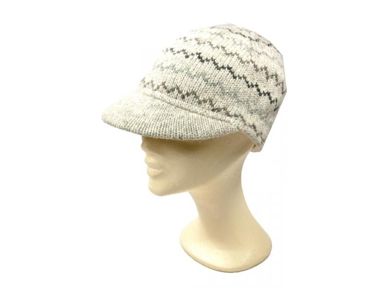 Čepice, kšilt, zikzak, přírodní barvy, vlna, podšívka