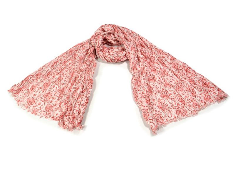 Bílý šátek s květinovým potiskem, mačkaná úprava, červený potisk, 110x170cm