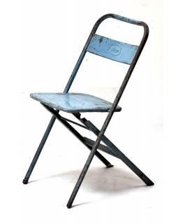 Kovová skládací židle, antik, 35x31x80cm