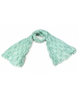 Bílý šátek s květinovým potiskem, mačkaná úprava, tm.zelený potisk, 110x170cm