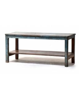 Stará lavička z teakového dřeva, šedo modrá patina, 109x43x48cm