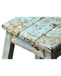 Stolička z teakového dřeva, tyrkysová patina, 37x37x54cm