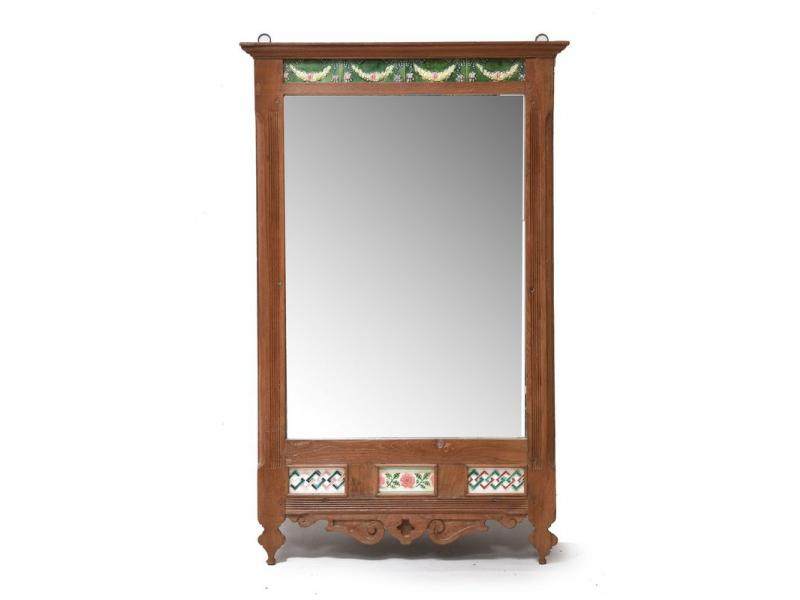 Zrcadlo v rámu z teakového dřeva zdobené starými dlaždicemi, 63x3x124cm