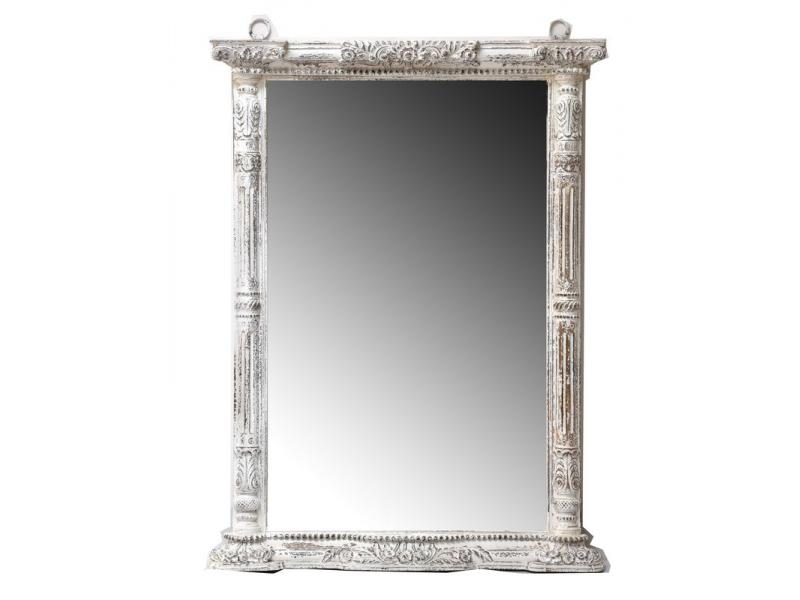 Zrcadlo v rámu z mangového dřeva ručně vyřezávané, 104x15x140cm