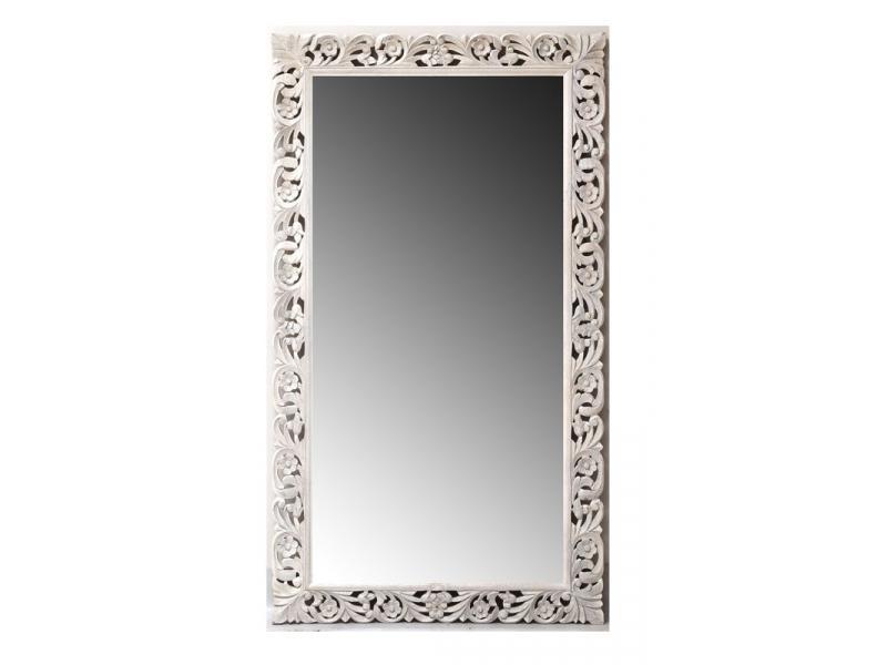 Zrcadlo v rámu z mangového dřeva ručně vyřezávané, 90x3x160cm