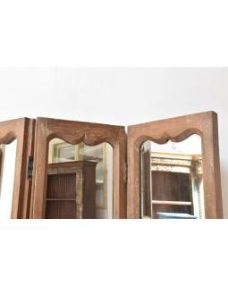 Paravan se zrcadly z teakového dřeva, 120x4x185cm