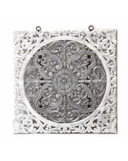 Ručně vyřezaná mandala z mangového dřeva, bílo stříbrná patina, 120x120cm