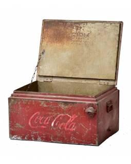 """Plechová lednička """"Coca Cola"""", antik, 56x44x34cm"""