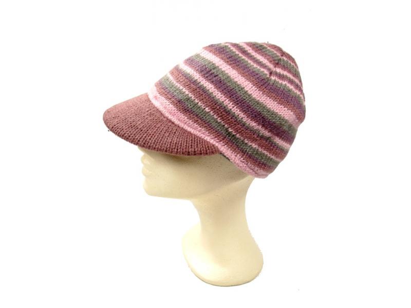 Čepice, kšilt, pruhy,-růžová,vínová,šedá-, vlna, podšívka