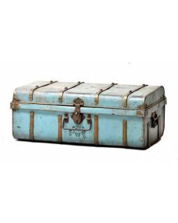 Plechový kufr, antik, tyrkysový, 75x42x24cm