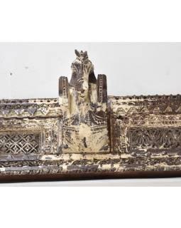 Starý dřevěný portál, koňské hlavy, ručně vyřezávaný, 152x23x21cm