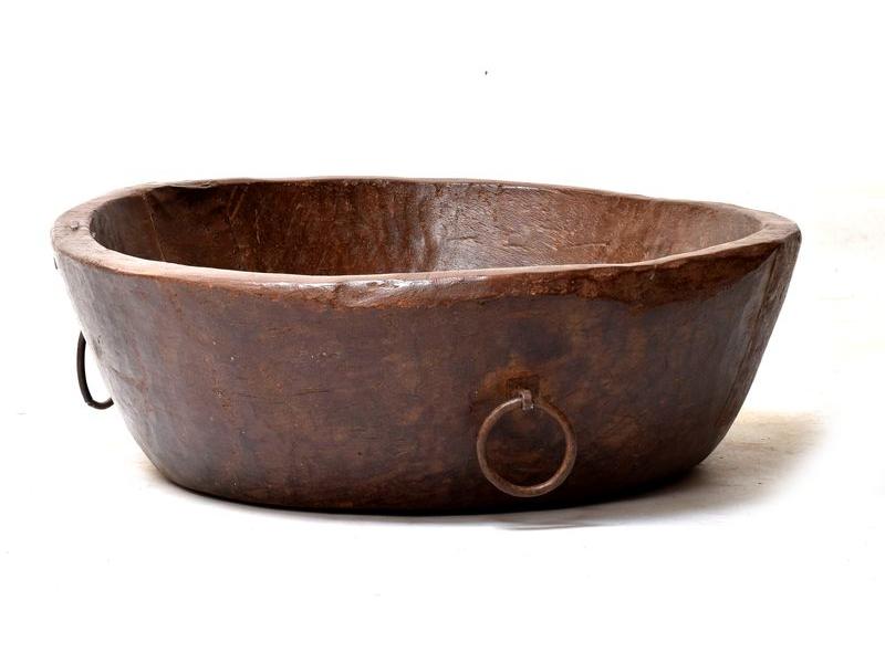 Dřevěná mísa z teakového dřeva, antik, 82x82x28cm